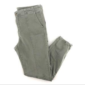 Anthropologie Olive Zipper Hem High Rise Cargo Style Jeans Pants